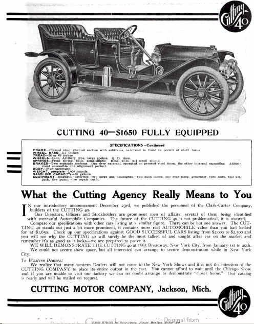 1910 Cutting Automobile Advertisement | Cutting: Clarke