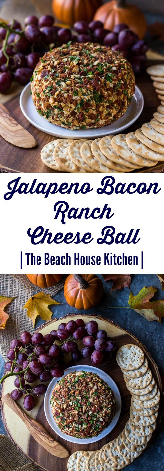 Jalapeño Bacon Ranch Cheese Ball   ThisJalapeño Bacon Ranch Cheese Ball is the perfect appetize