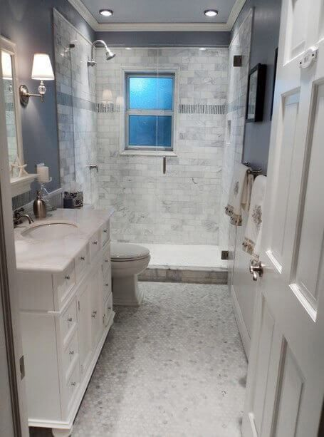 small master bath reno is complete hexagon marble floor tile beveled subway tile marble accent tile glass neoangle shower enclosure all in alu2026