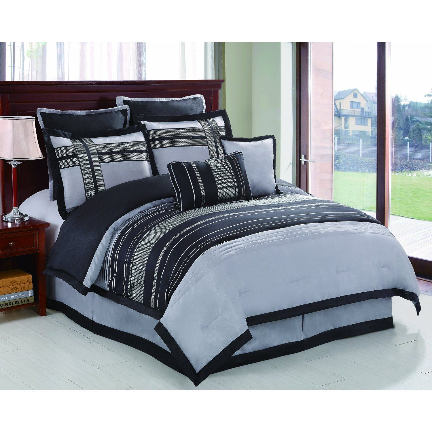 blue comforter sets very sophisticated and modern black