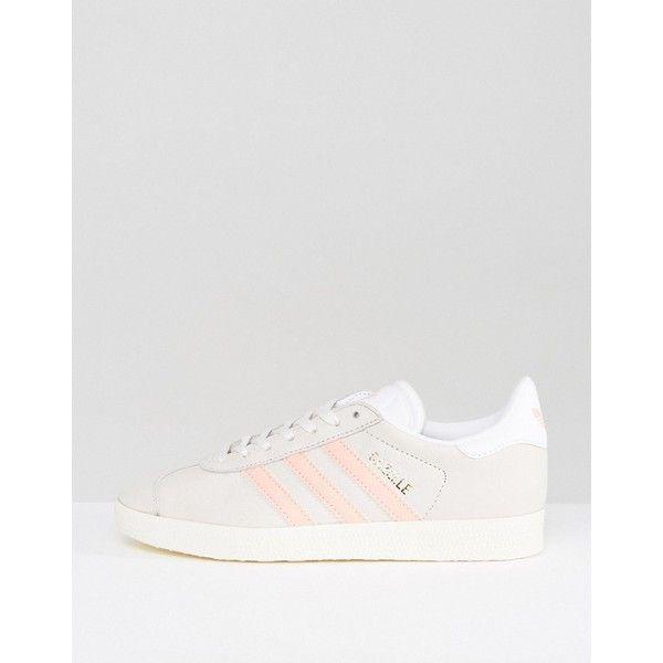 adidas Originals Pastel Grey And Pink Gazelle Trainers ($97
