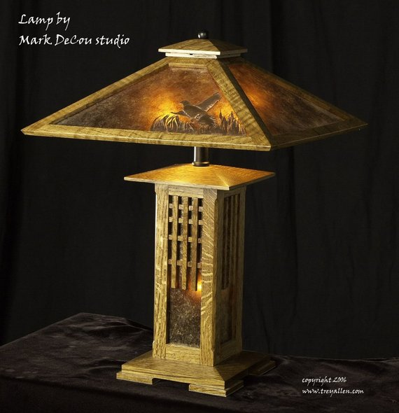 Built To Order Mission Style Table Lamp Arts And Crafts Oak Wood Mica Sheets Handmade Prairie Craftsman Style Table Table Lamp Wood Oak Lamp