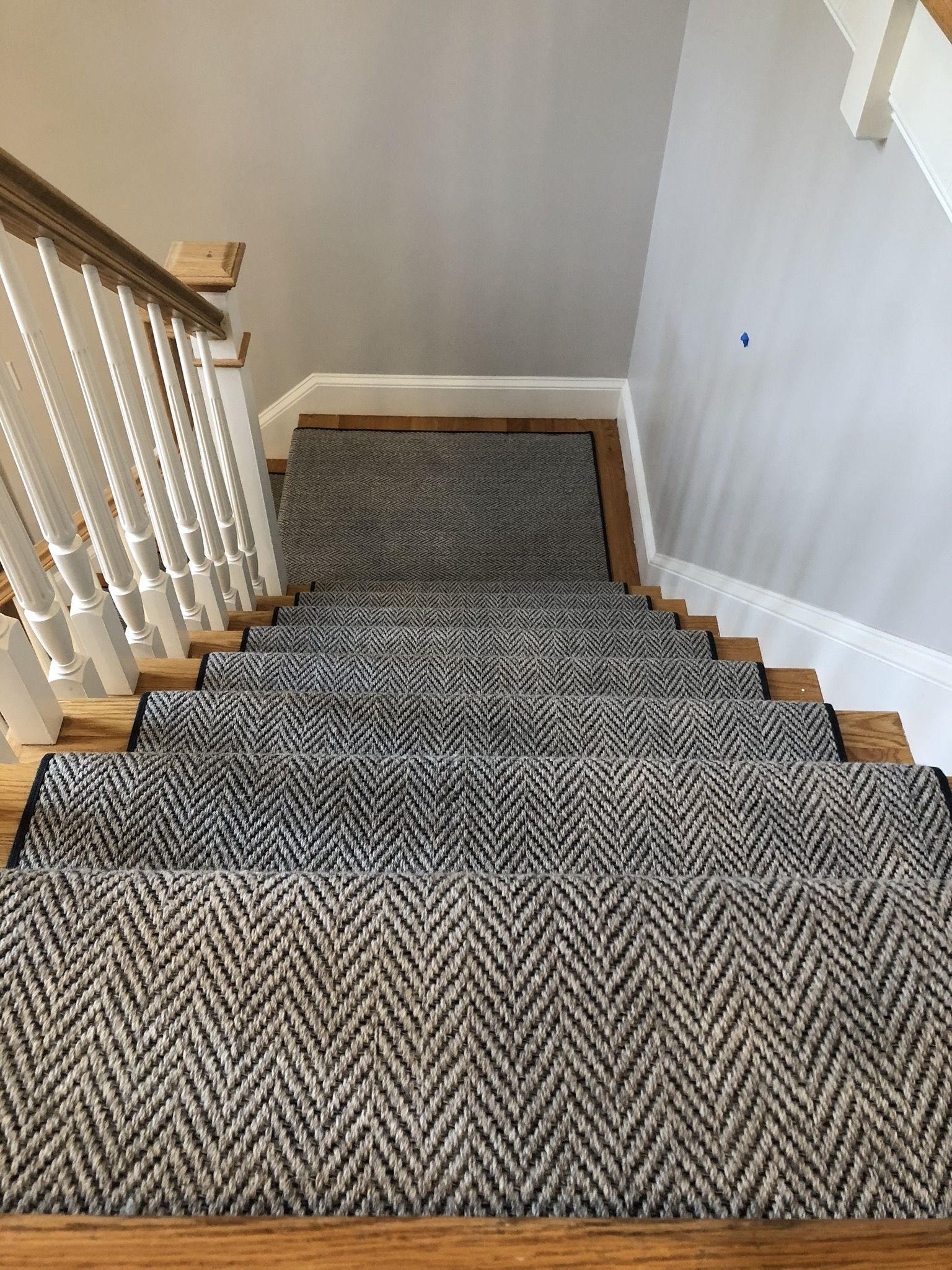 The Best Way To Do Herringbone Runners Heatherly By Momeni The | Best Way To Carpet Stairs | Hardwood | Carpet Cleaning | Install | Wooden Stairs | Stair Runner
