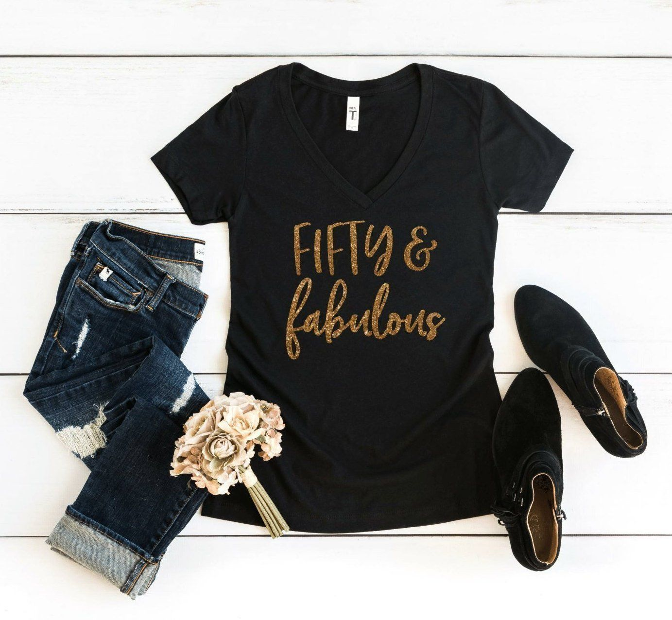 50th Birthday Shirt Fifty & Fabulous Women's V Neck T