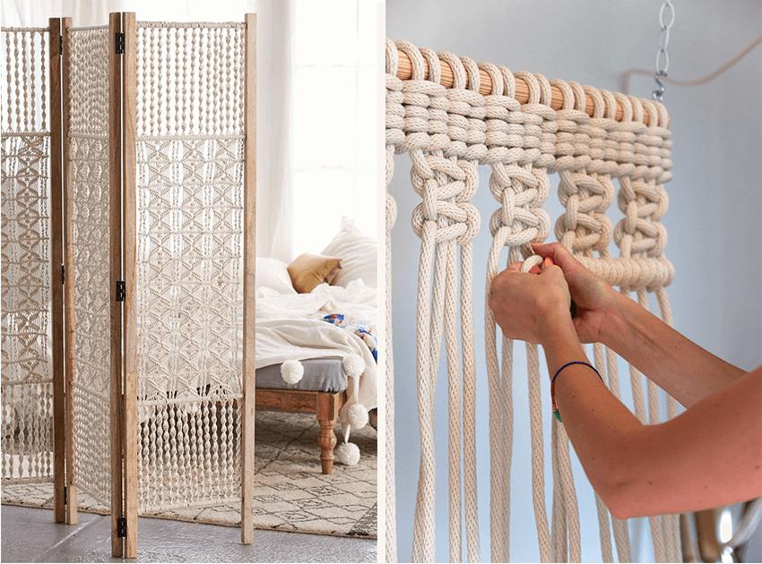 macrame paravent diy d co pinterest paravent macram et tissu laine. Black Bedroom Furniture Sets. Home Design Ideas
