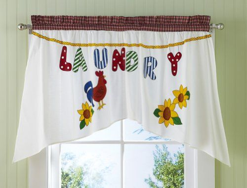 Collections Etc Country Rooster And Sunflowers Laundry Curtain Curtains Laundry Room Curtains Laundry Room Rugs