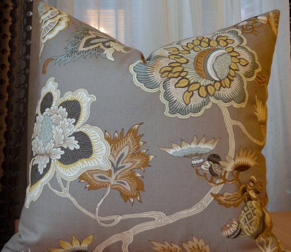 Taupe Pillow Greige Greybeige Modern Floral Decorative Throw