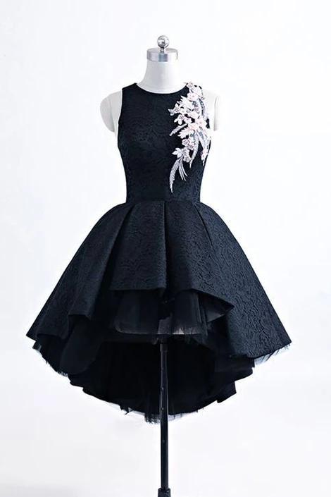 Black heavy satin high low homecoming dress, short black halter homecoming dress,2107