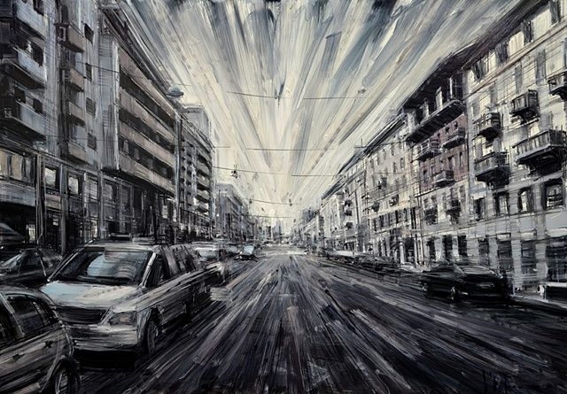 Milano.- oil painting by Valerio D'Ospina.