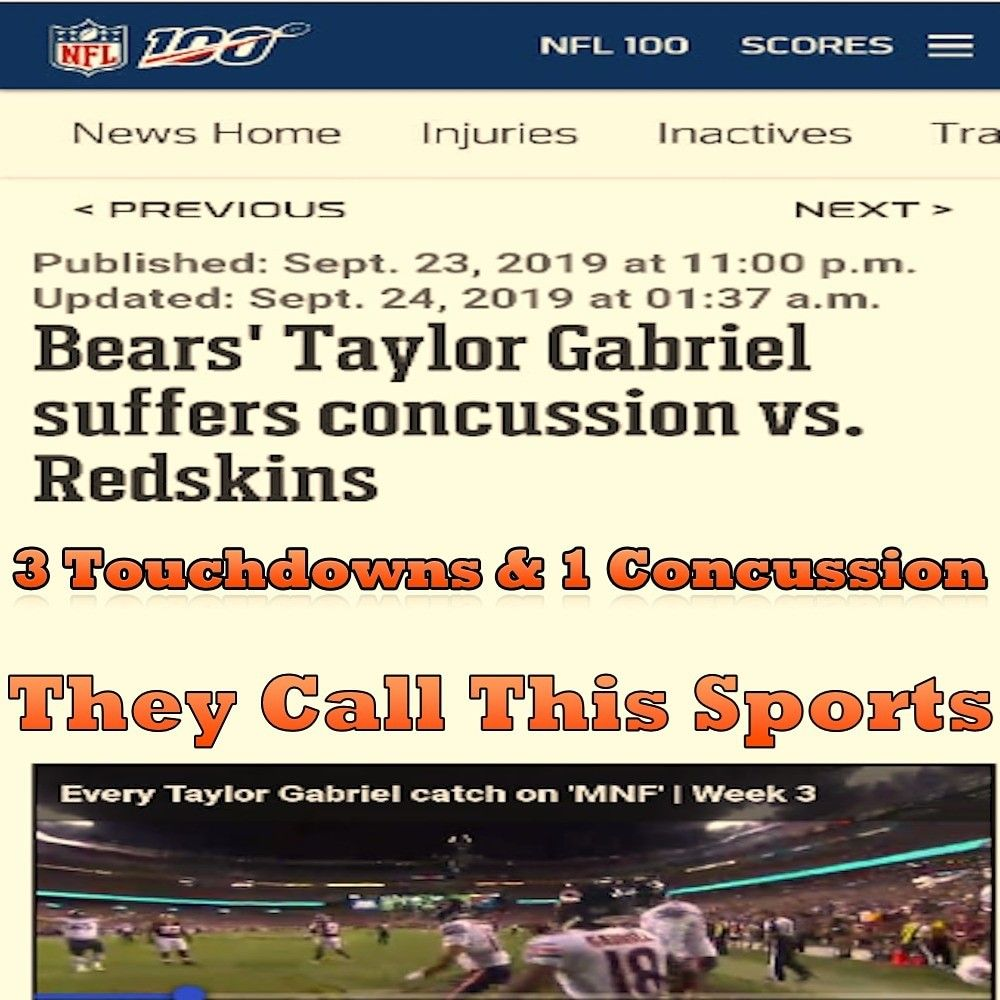 Bears Taylor Gabriel Suffers Concussion Vs Redskins Com Imagens