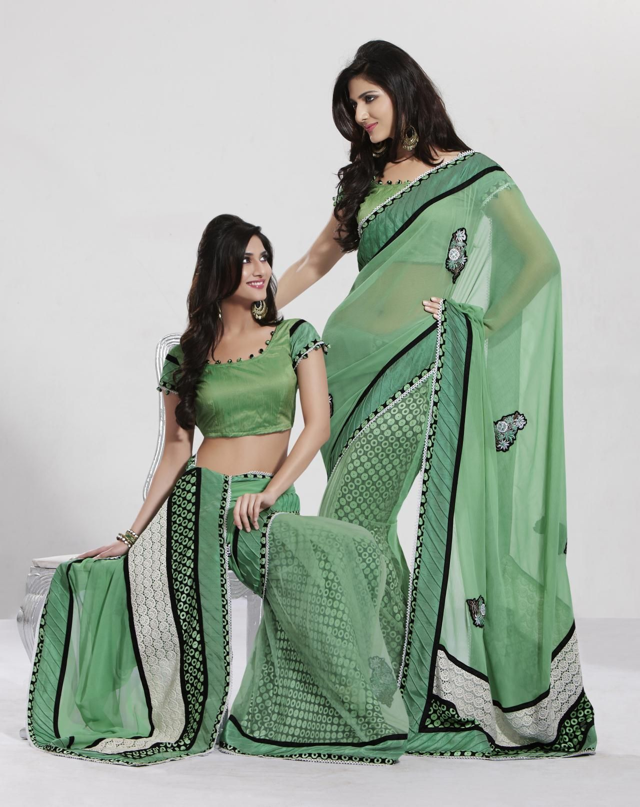 13b9a718d435d6 $54.96 Half Saree, Blouse Online, Saree Collection, Indian Sarees, Chiffon  Saree,