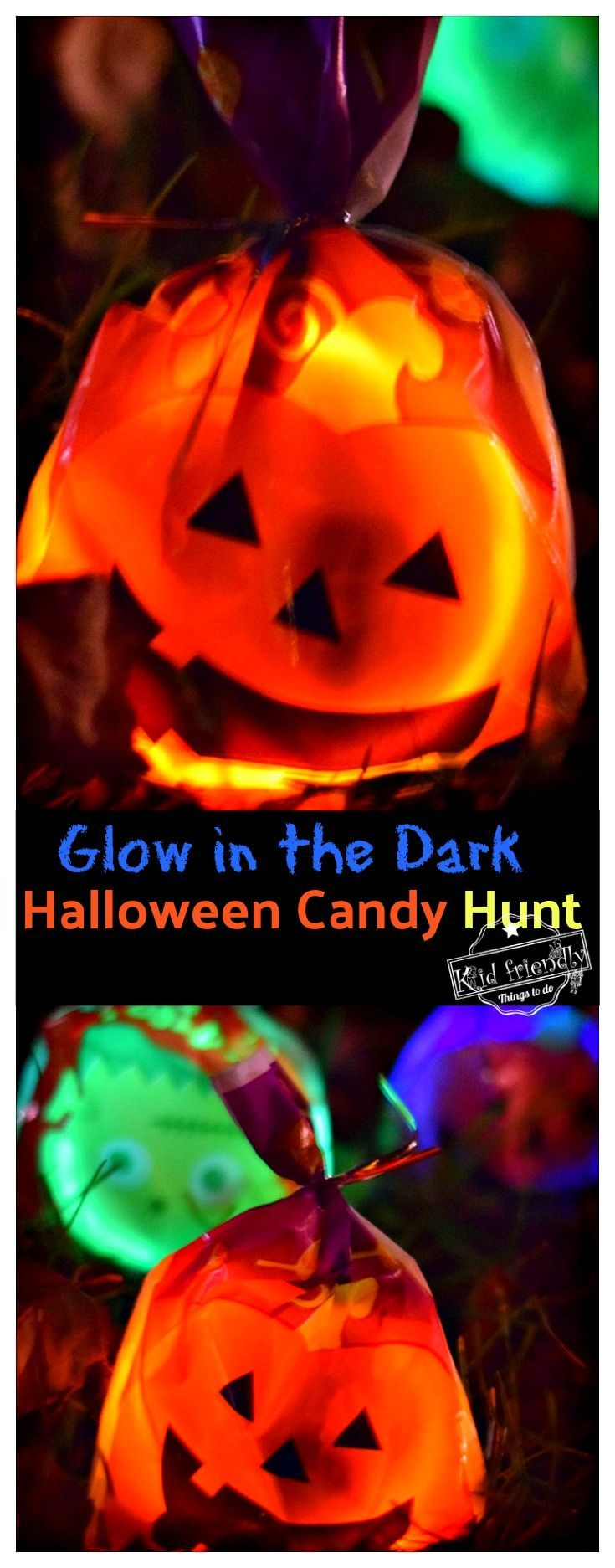 A Glow in the Dark Halloween Candy Hunt Idea for Kids