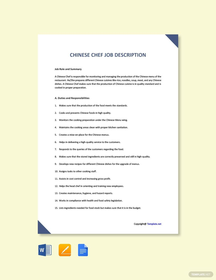 Free Chinese Chef Job Description Template in 2020 Chef