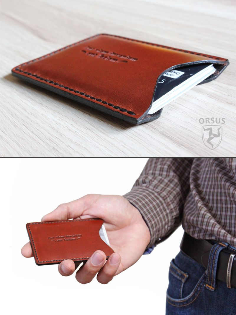 Very nice made handmade handstitched and handburnished leather very nice made handmade handstitched and handburnished leather card holder with embossed motivational quote reheart Choice Image