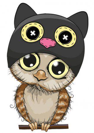 Милый мультфильм Сова в шляпе кота — стоковая иллюстрация ...
