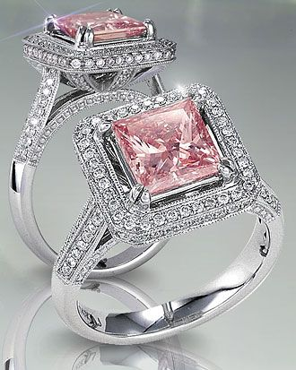 pink diamond engagement ring ok so im not normally a bling kinda girl but this is beautiful - Pink Wedding Rings