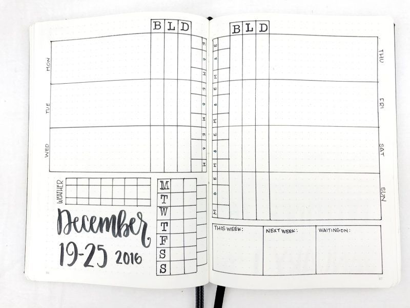 Bullet journal weekly spread december 19 25 2016 bullet bullet journal weekly spread december 19 25 2016 bullet everything 2 page rows meal tracker meal planner energy tracker mood tracker water tracker malvernweather Choice Image