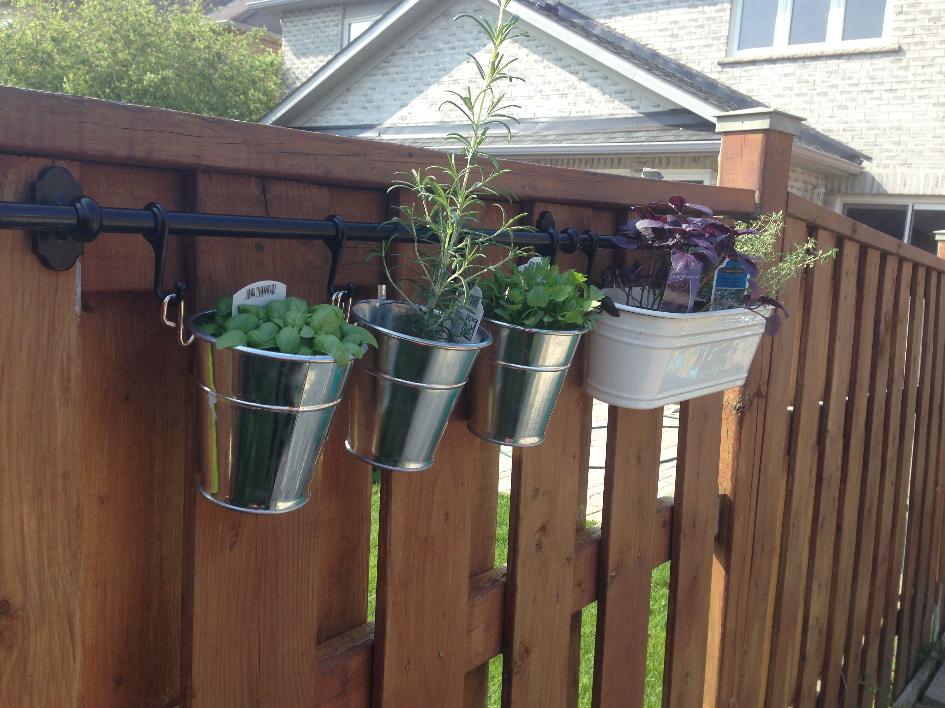 First Attempt At An Herb Garden. Pots And Rod Purchased From Ikea. Herbs  From