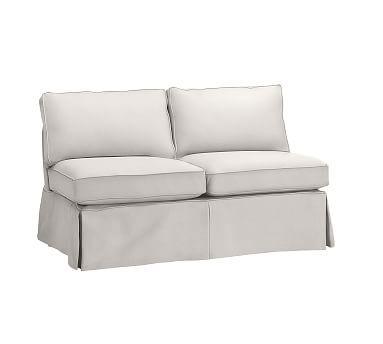 Pb Basic Slipcovered Armless Loveseat Down Blend Wred Cushions Performance Heathered Tweed Ivory