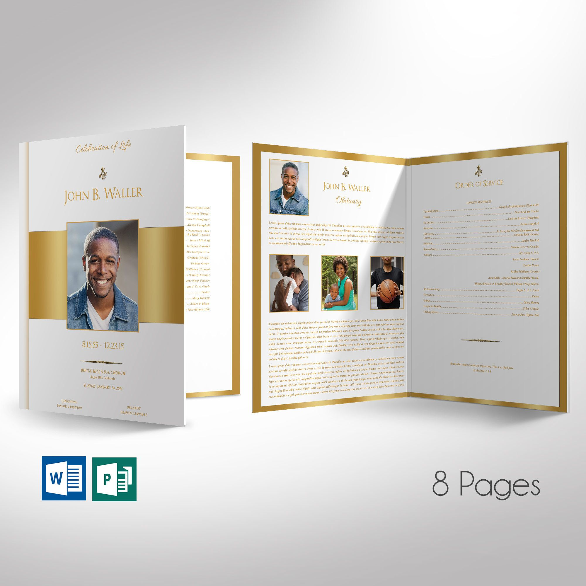 White Gold Funeral Program Word Publisher Large Template 8 Pages Editable Colors Print Size 11 X17 Bi Fold To 8 5 X11 Funeral Program Funeral Program Template Word Template