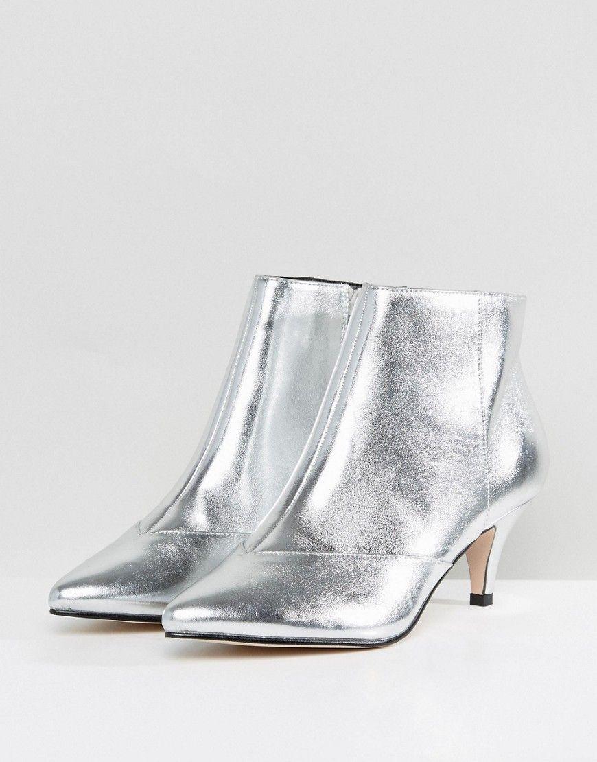 d7487c454d Miss Selfridge Metallic Kitten Heel Ankle Boot | Shoes | Kitten heel ...