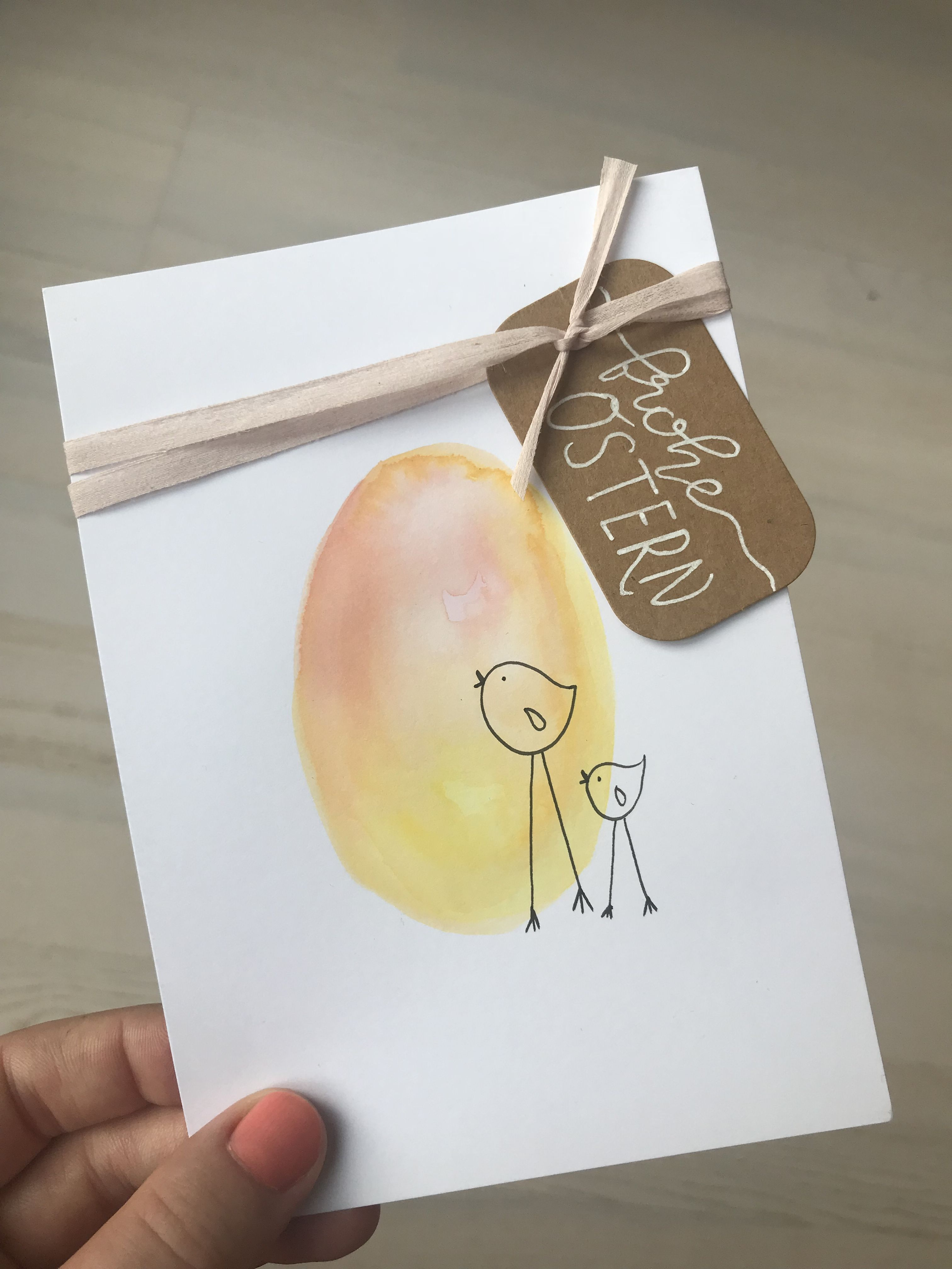 Osterkarte Diy Karte Ostern Kuken Lettering Osterkarten Foto