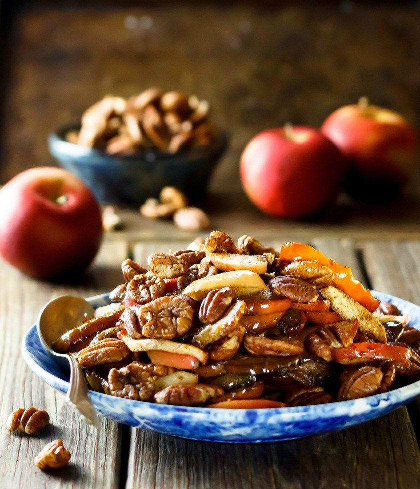 Maple Roasted Acorn Squash With Apples And Pecans Recipe Maple