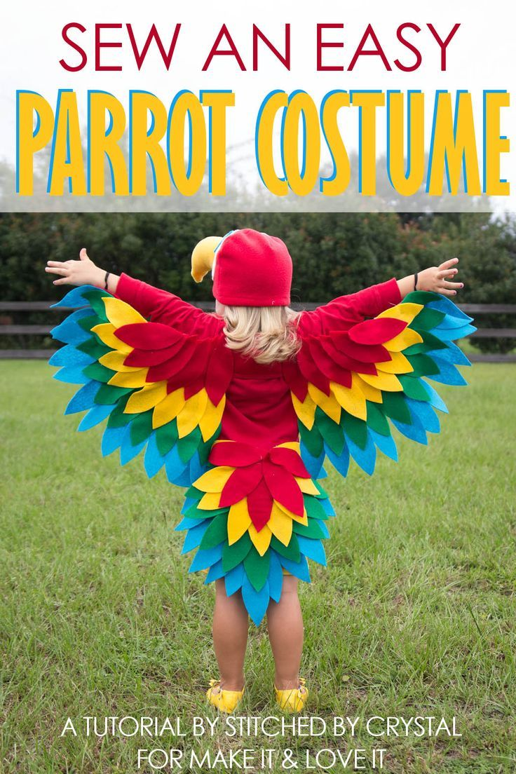 Parrot costume diy how to make a homemade parrot costume with wings a tutorial to sew an easy parrot costume perfect for halloween or dress up via make it and love it solutioingenieria Image collections