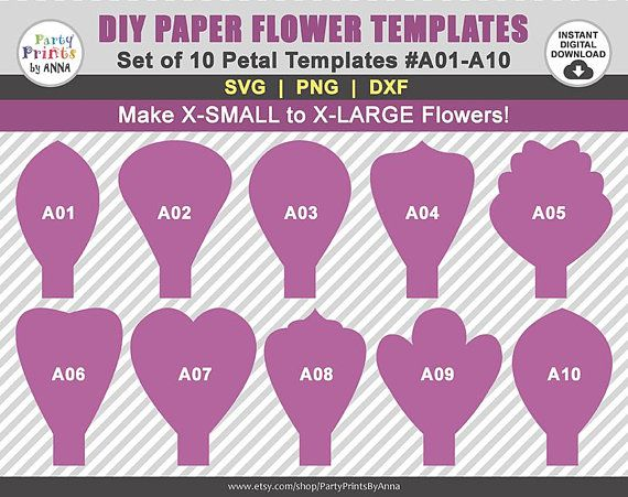10 SVG Paper Flower Templates A01-A10 diy Giant Large Paper | Flower ...