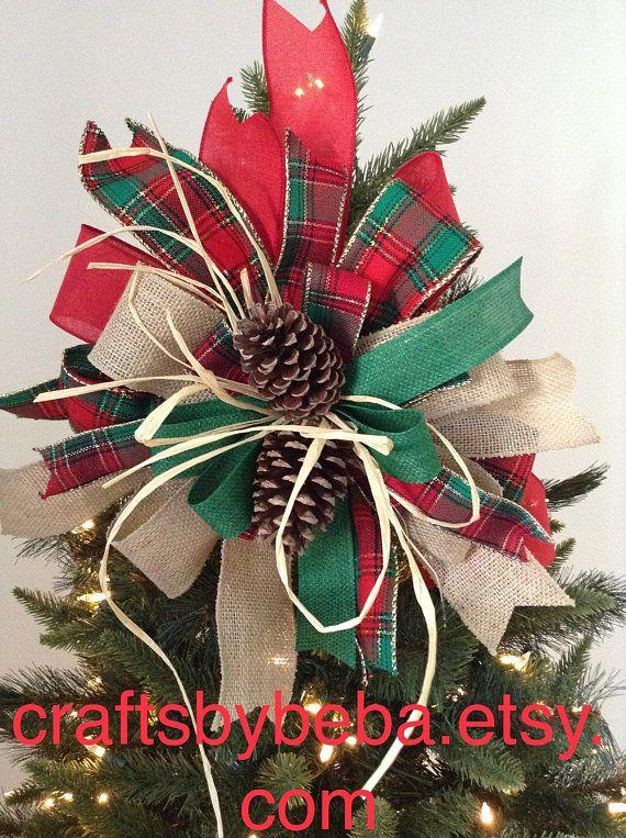 Christmas Tree Topper / Xmas Decorative Bow / Plaid Christmas Tree