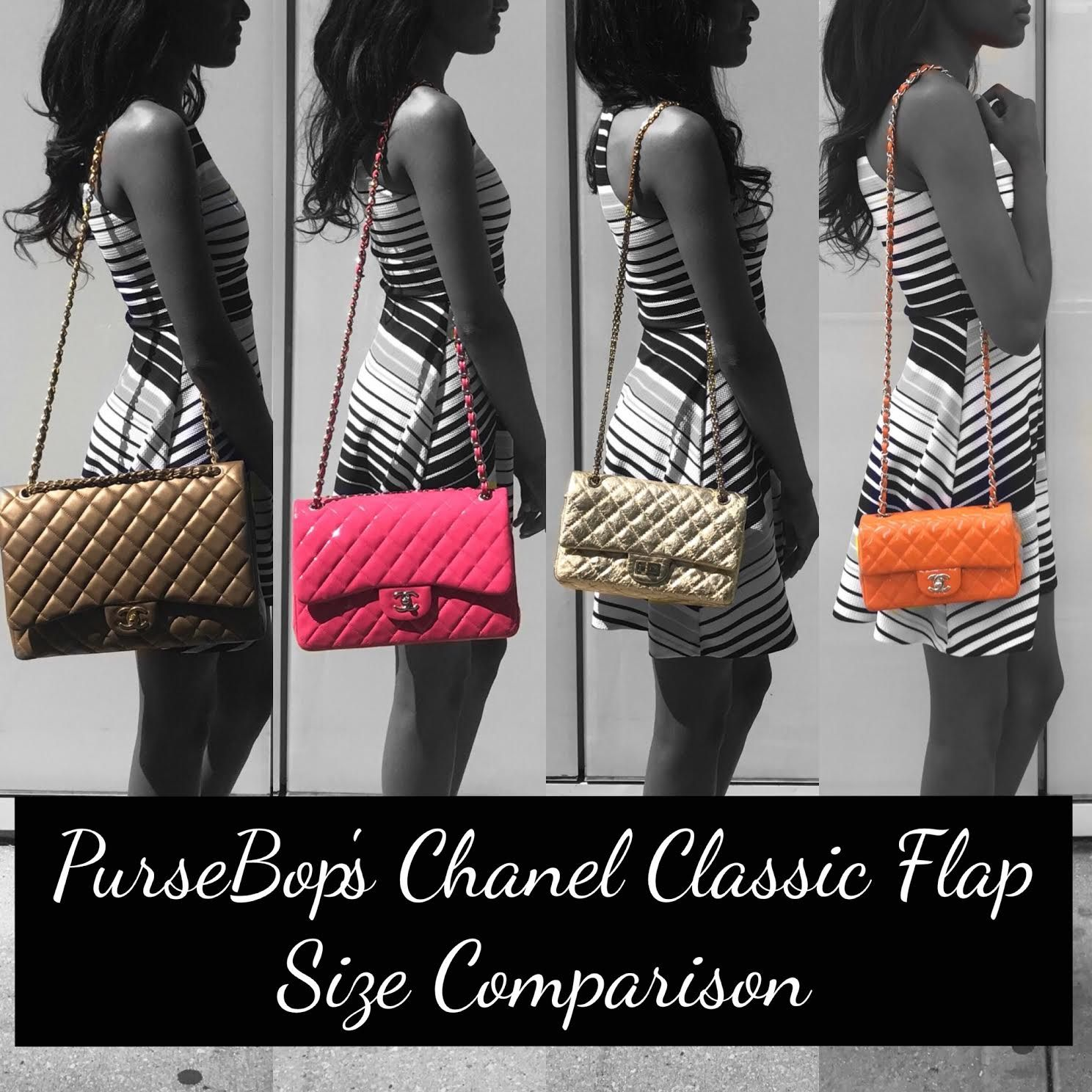 An in-depth comparison of the Chanel Classic Flap sizes complete with real  life modeling pictures of each on two body frames. 325b8db1b92ec
