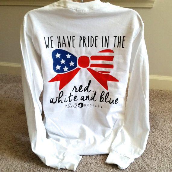 monogrammed american flag bow long sleeved shirt memorial day shirt america shirt fourth of july shirt july 4th shirt memorial day - American Pride T Shirt