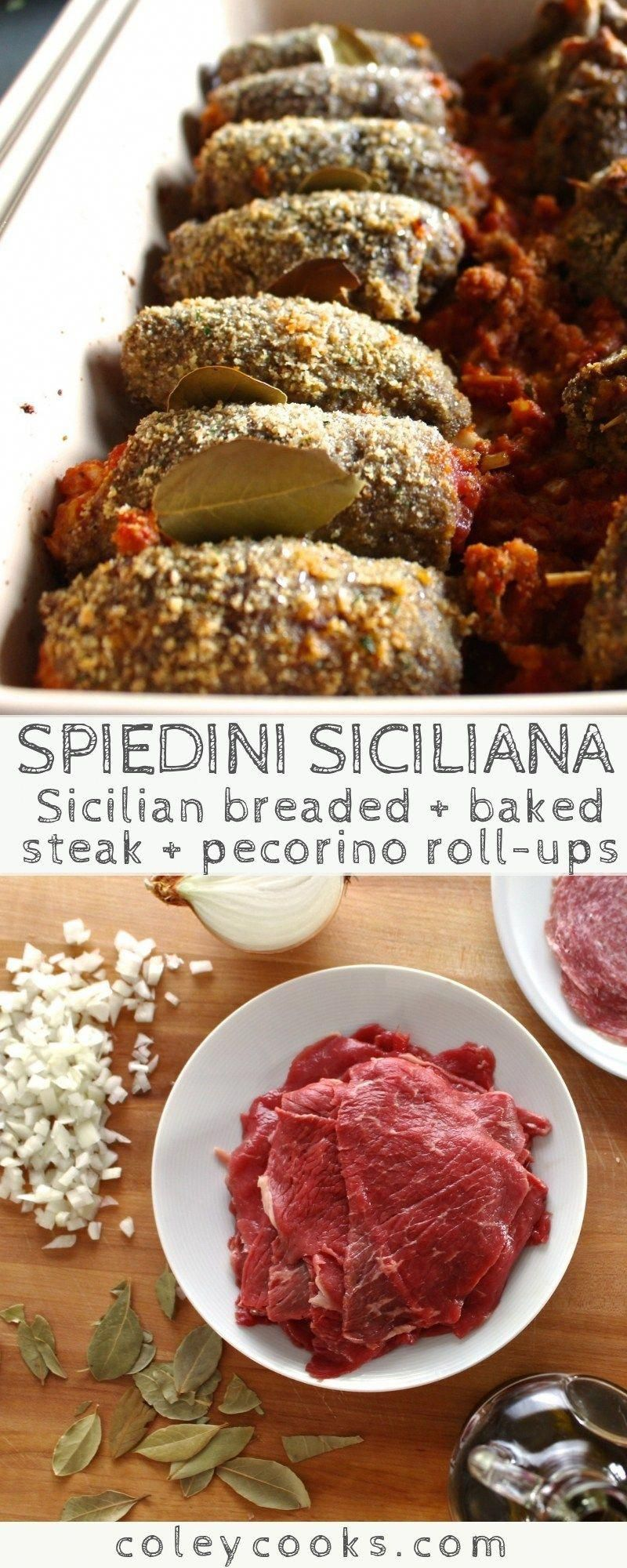 Spiedini Siciliana | My family's authentic Sicilian recipe for spiedini. Thinly sliced beef, breaded + stuffed with tomatoes, cheese and onions. Great holiday recipe! #easy #christmas #recipe #appetizer #holidays #beef #Sicilian | ColeyCooks.com #appetizersitalian