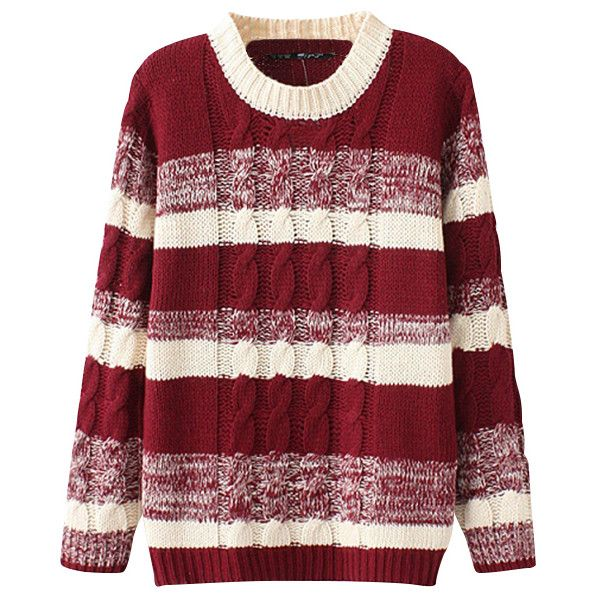 Chicnova Fashion Preppy Style Stripe Knitwear (€18) ❤ liked on Polyvore featuring tops, sweaters, outerwear, shirts, red stripe sweater, red sweater, stripe shirt, sweater pullover and red top