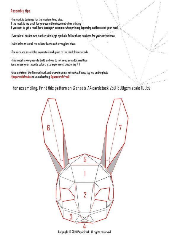 Papercraft 3d Rabbit Bunny Mask Halloween Pepakura Carnival Etsy In 2021 Bunny Mask Paper Mask Diy Cardboard Mask