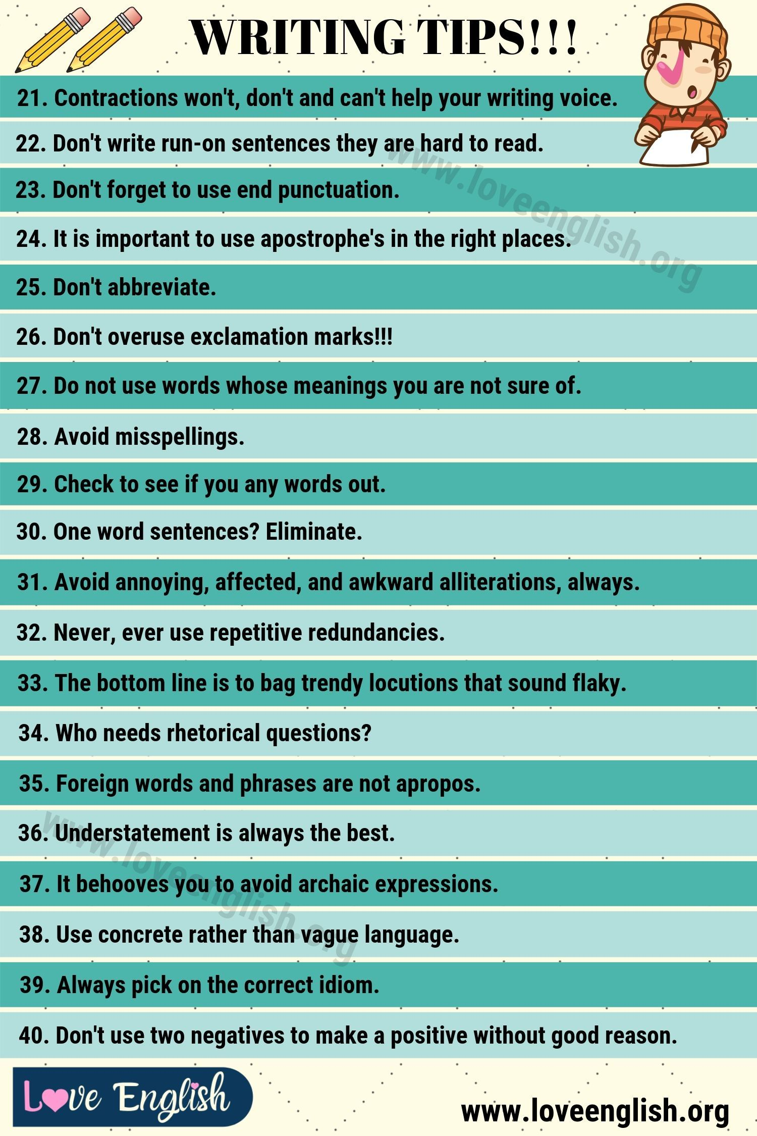 Writing Tips: 12 Smart Tips on How to Write Better - Love English