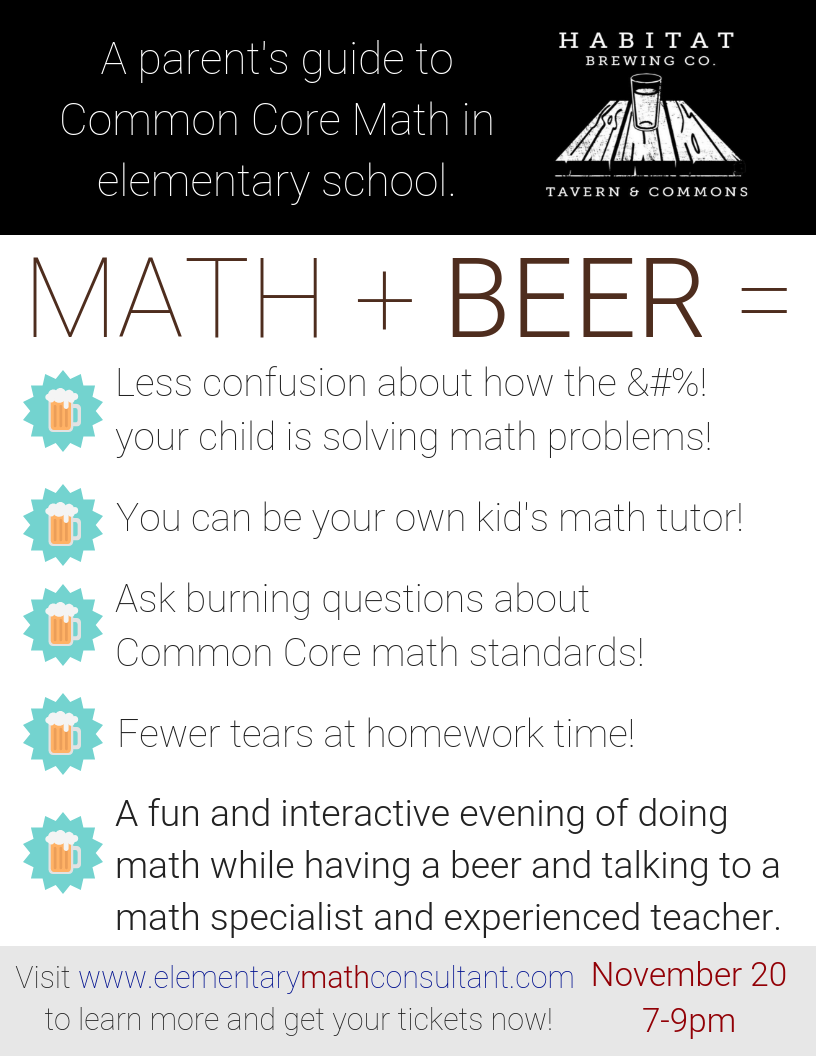 Buy Your Ticket For Math Beer Night The Elementary Math Consultant Elementary Math Math Common Core Math Standards [ 1056 x 816 Pixel ]