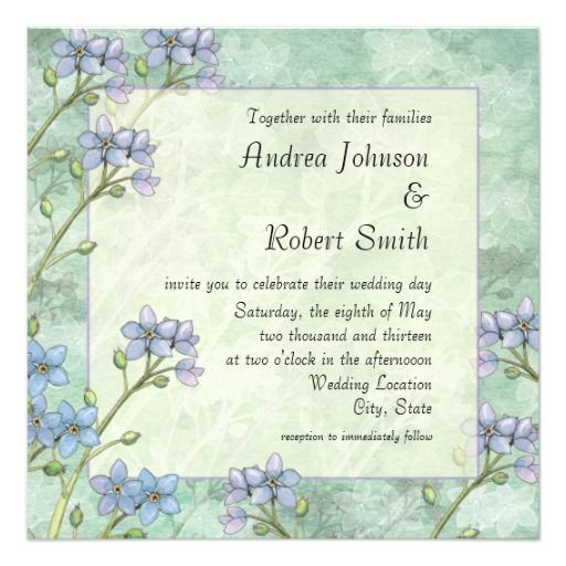 Forget Me Not Floral Spring Wedding Invitations