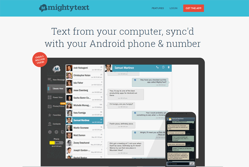 MightyText Android phone, Tablet, App