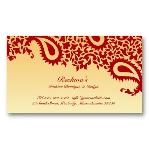 Beautiful Elegant Paisleys Red Gold Indian Business Card It S Two Sided With No