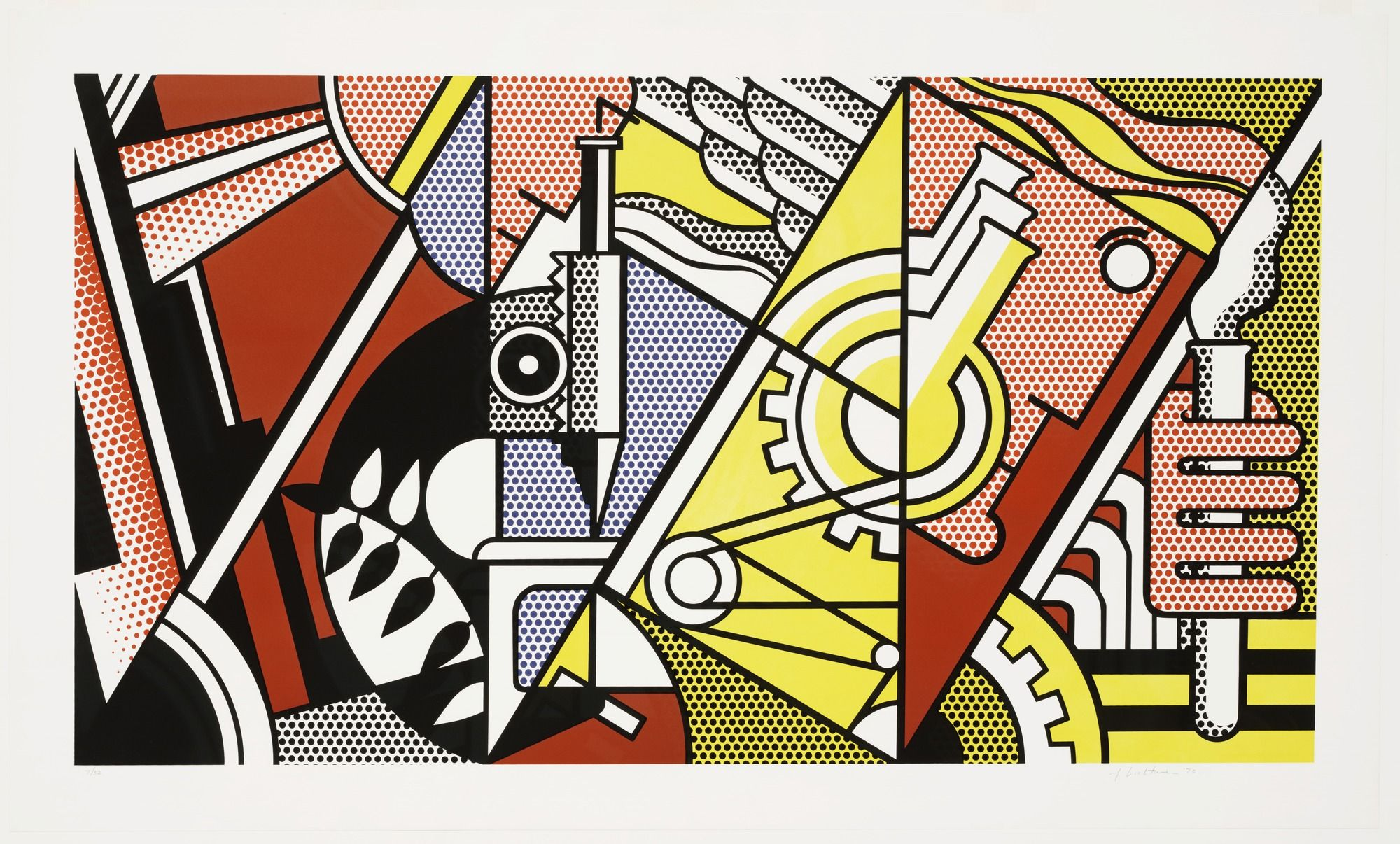 Peace Through Chemistry I. By: Roy Lichtenstein. 9/30/16 I enjoyed the way the triad colors of red, blue, and yellow came together in this screen print. The triad colors are used to make each object stand out in its own way which i like. I also like the cubist style used here along with the chemistry elements in the print.