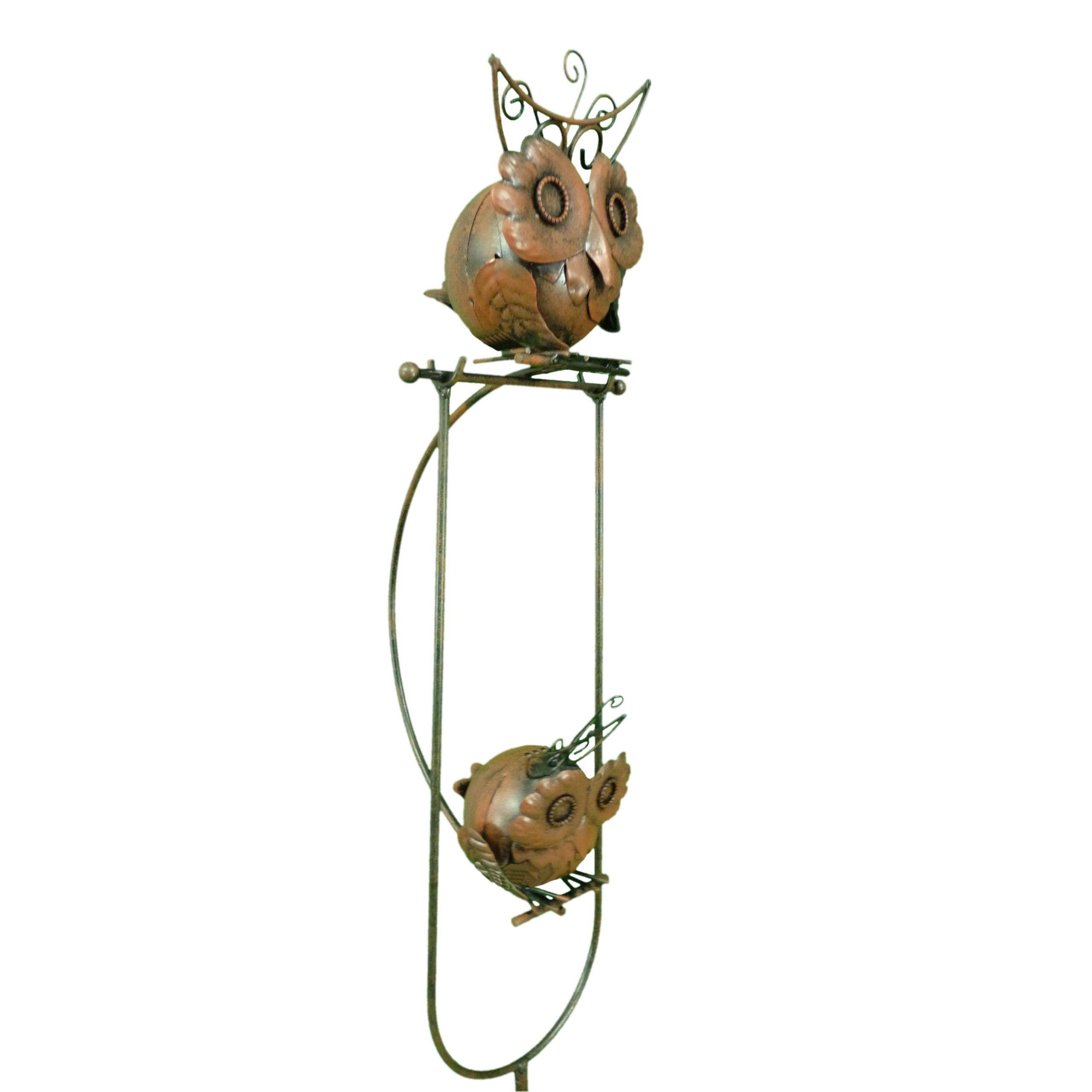 East2eden Rocking Balancing Fat Owls Metal Garden Wind Spinner Ornament