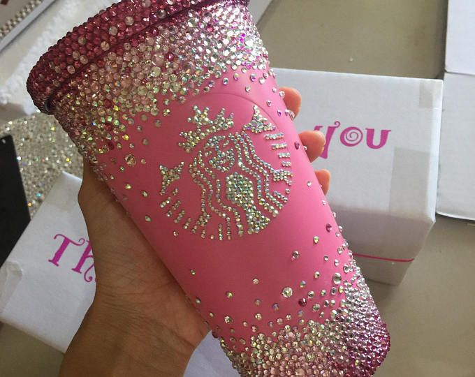 Swarovski Crystal Starbucks Cold hot Cup/Mug customized cup blinged out cup sparkling cup tumbler bling crystal cup mug rhinestone tea cup #disneycups