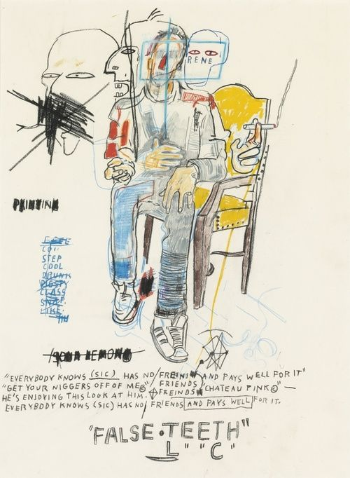 "Jean-Michel Basquiat, René Ricard, oilstick, colored pencil and charcoal on paper, 30"" x 22"", 1984. (Rene passed away February 2014)."