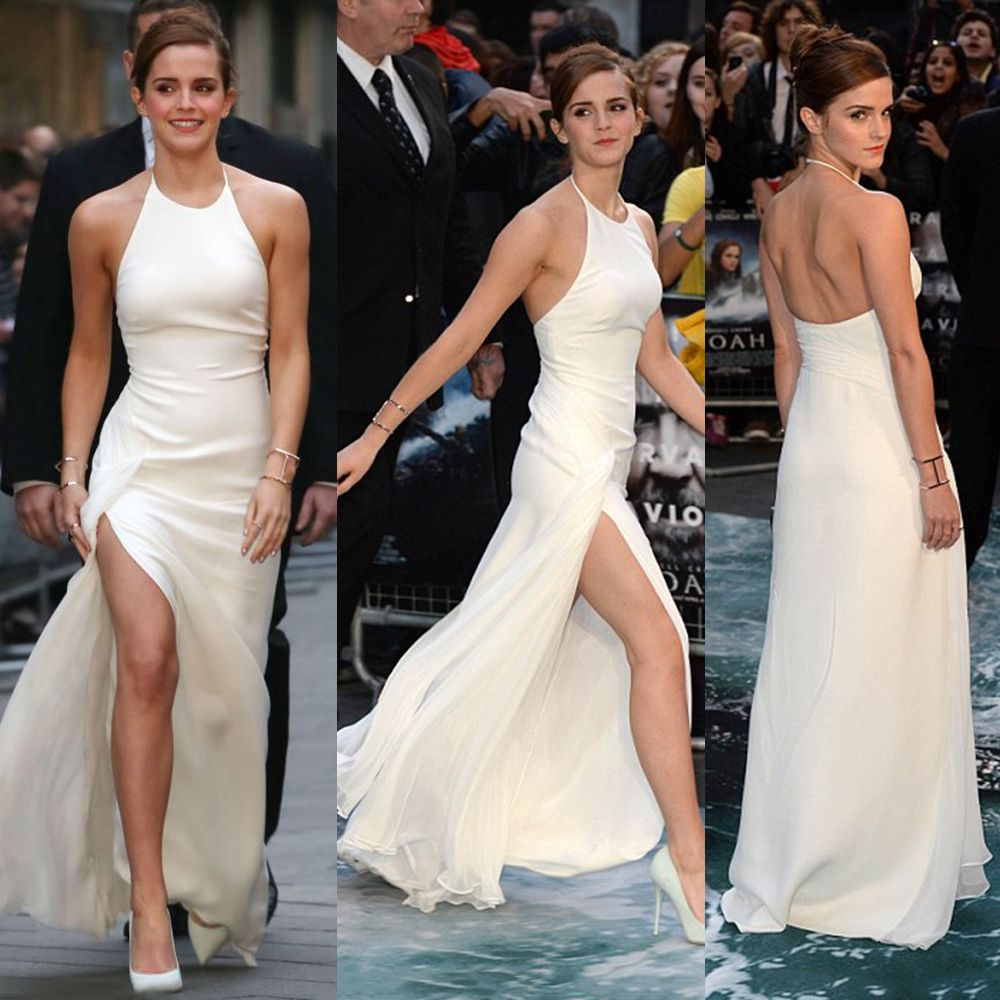 Find a emma watson ivory high slit celebrity dresses halter backless