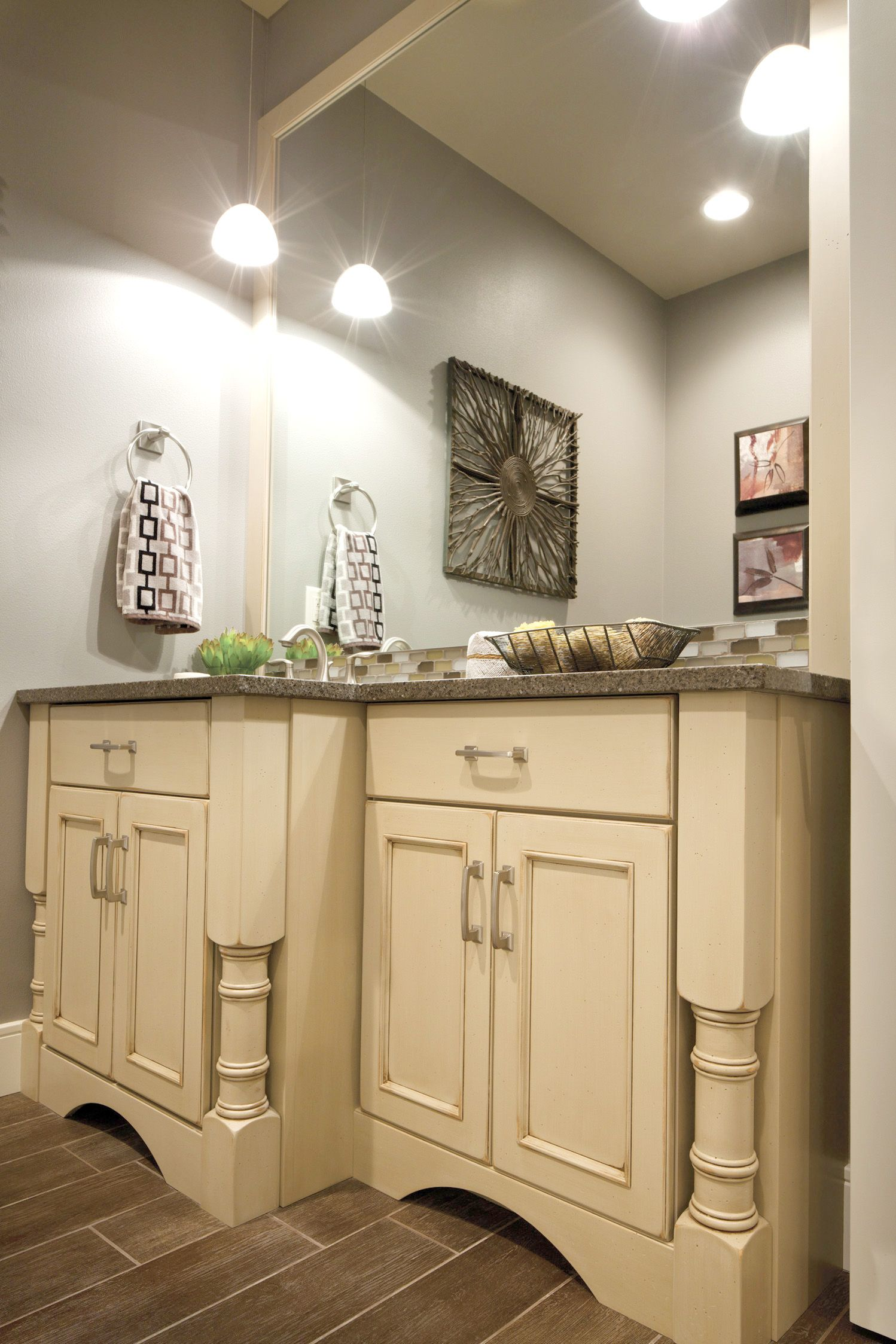 thick turned legs with valance toekick classic bathroom vanity by dura supreme cabinetry