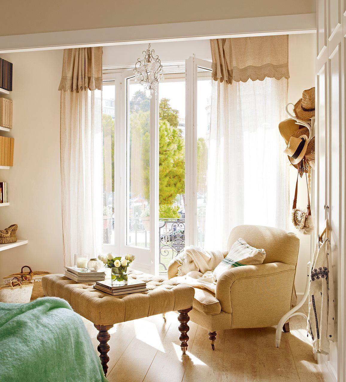 Rinc n de lectura sal n comedor cortinas beige for Cortinas vintage dormitorio