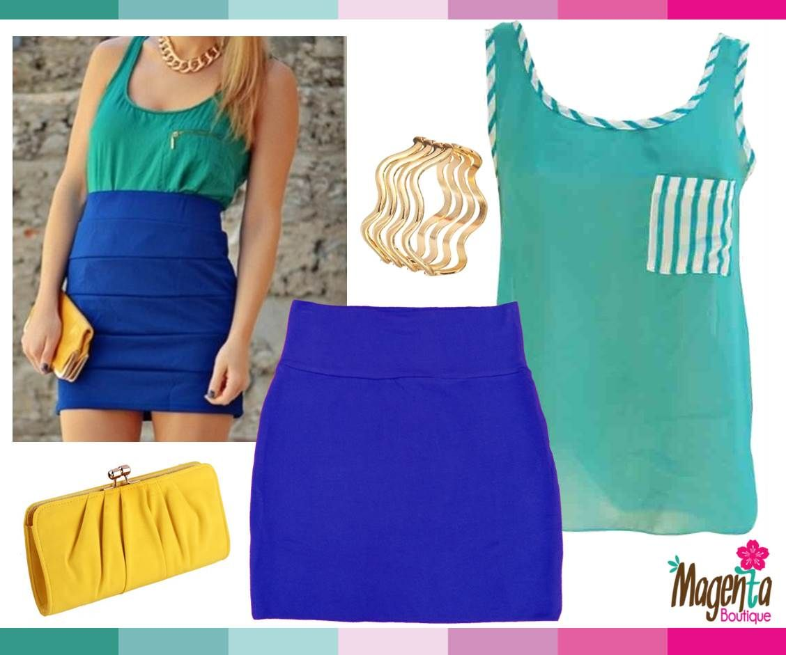 blue outfit, yellow clutch, mint tank, blue skirt, #perfectoutfit, #FashionCR #ModaCR