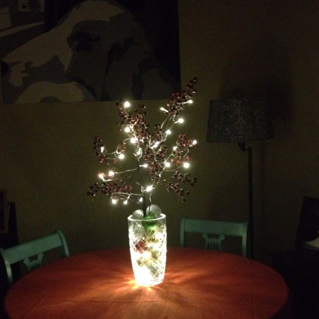 Christmas centerpiece diy large vase bulbs