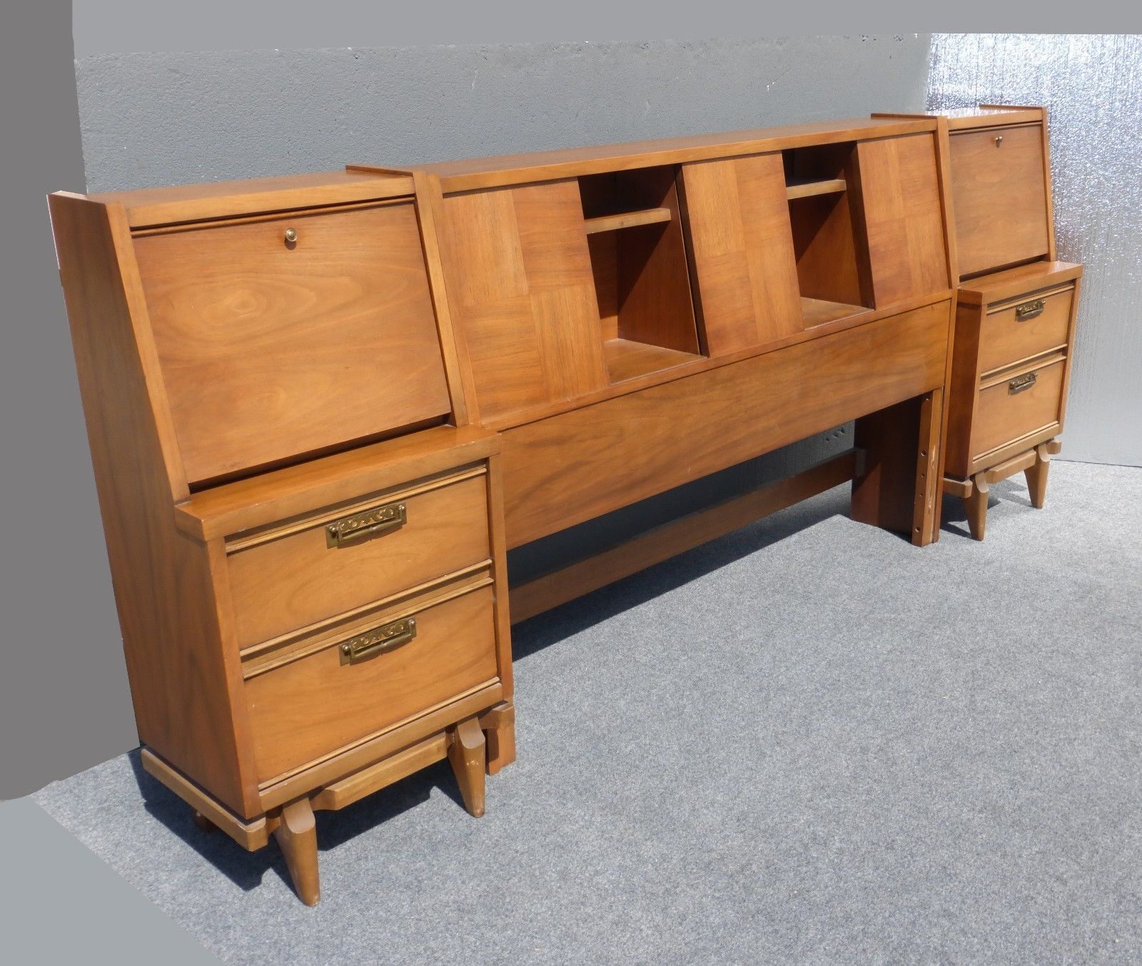 Vintage Danish Mid Century Headboard Two Nightstands